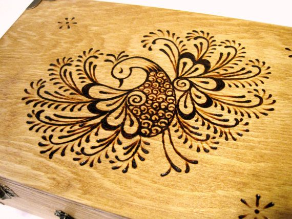 Henna Peacock Memory Box (Small) with Brass Accents, Handmade, Woodburned (not this design, but this style; can do finishes)