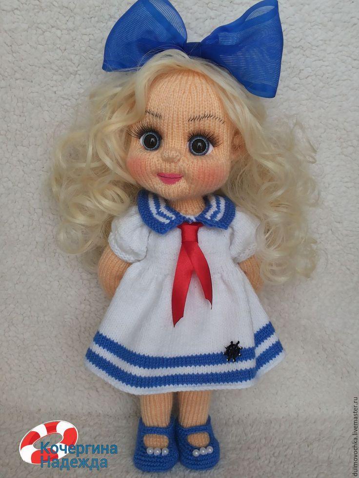 Купить Марина - синий, вязаная игрушка, вязаная кукла, вязаная куколка, вязаный пупс, куколка