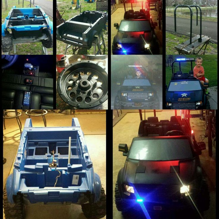 """Power wheels cop truck, completely disassembled, rough the plastic with 120 grit sandpaper, painted the body with outdoor plastic furniture spray paint. Wheels & bed painted with spray on bed liner. Am/Fm radio in place of the original, toggle switches for real working headlights & blue/red lights. Roll bar made from 3/4"""" pvc with light bar attached."""