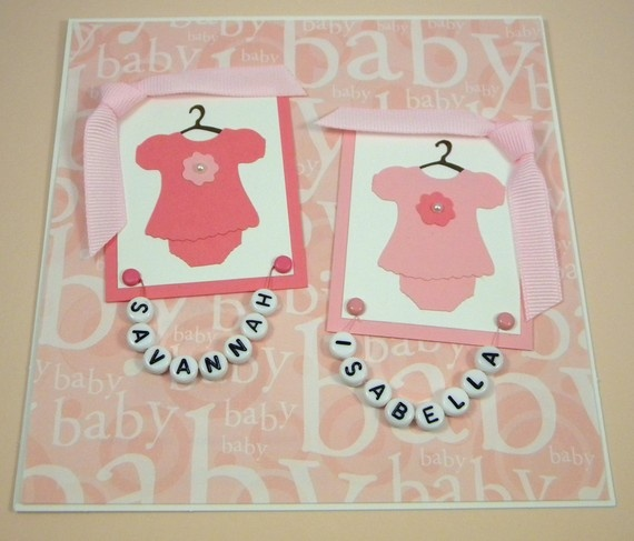 Twin Baby Card for Girls Personalized Pink by CarasScrapNStampArt, $5.00. Pour des jumeaux