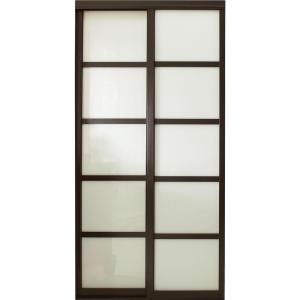 Contractors Wardrobe 60 in. x 96 in. Tranquility Glass Panels Back Painted White Interior Sliding Door with Espresso Wood Frame-TR5-PSW6096ES2X - The Home Depot