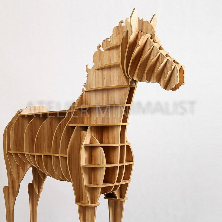 Wooden Horse Shelf