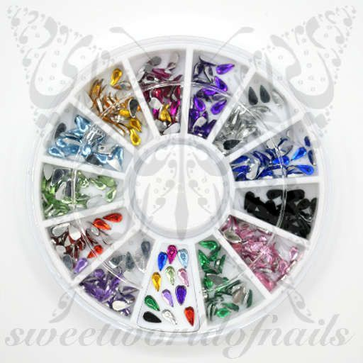 Teardrop 3D Nail Rhinestones Charms Wheel-12 Colors