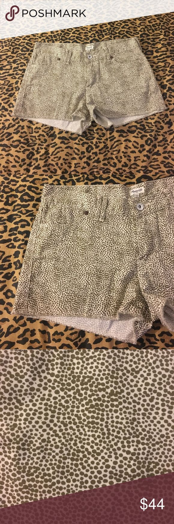 Mqdewell cheetah shorts size 27 frayed Gently uSed no holes or stains super cute on perfect for spring and summmer Madewell Shorts