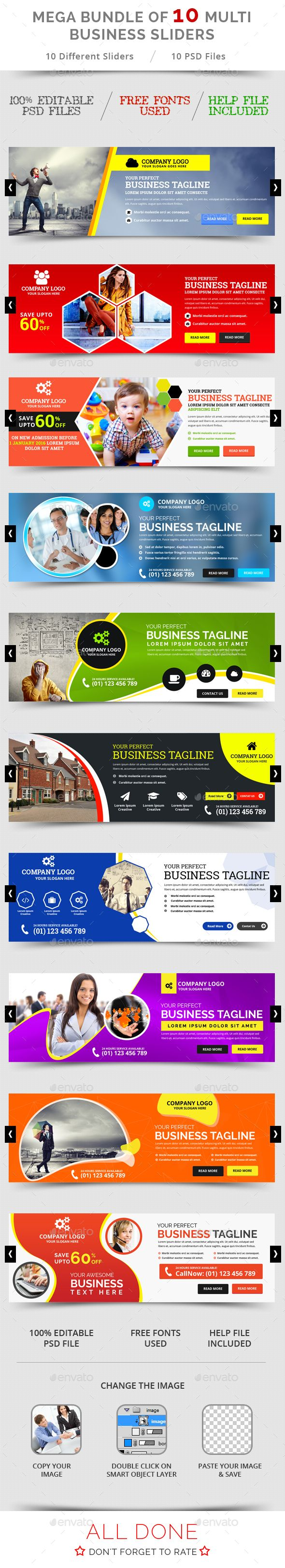 10 Multi Business Sliders Templates PSD Bundle. Download here…