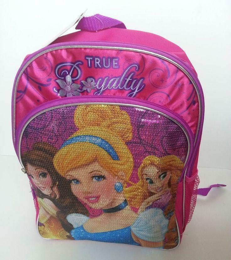 "NEW Disney PRINCESS Royalty CINDERELLA, BELLE & RAPUNZEL 16"" school bag BACKPACK #Disney"