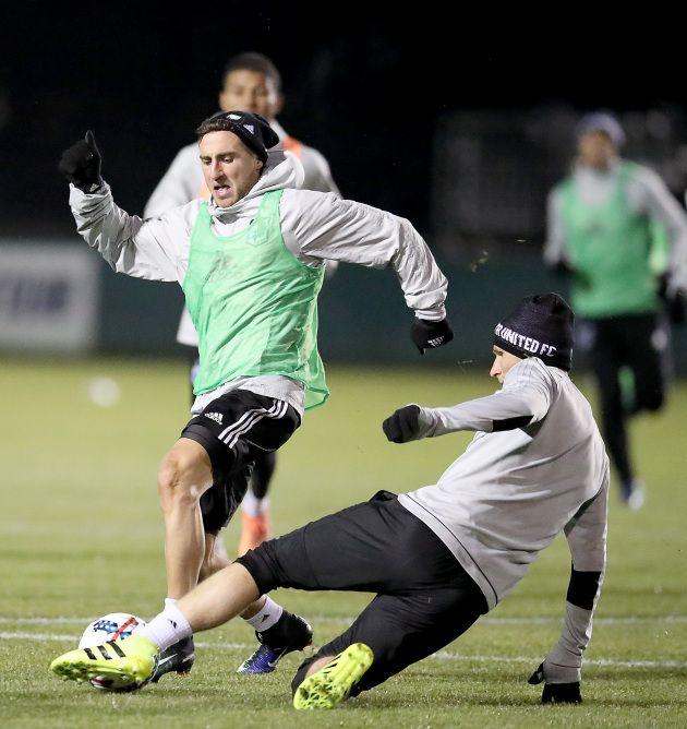 Danish winger Bashkim Kadrii, in green, practices with Minnesota United FC on Tuesday in Portland. (Liz Flores, Star Tribune.)