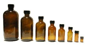 Amber, Cobalt, and Recycled Glass Bottles from Mountain Rose Herbs