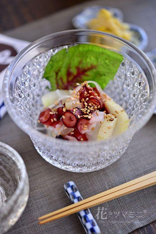 蛸とセロリの梅酢和え - Octopus and celery marinade.