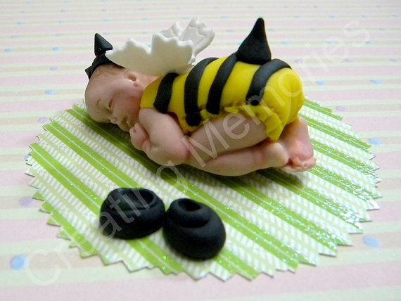 Bee Baby Edible Cake Topper Made Of Vanilla Fondant BABY SHOWER Decorations To