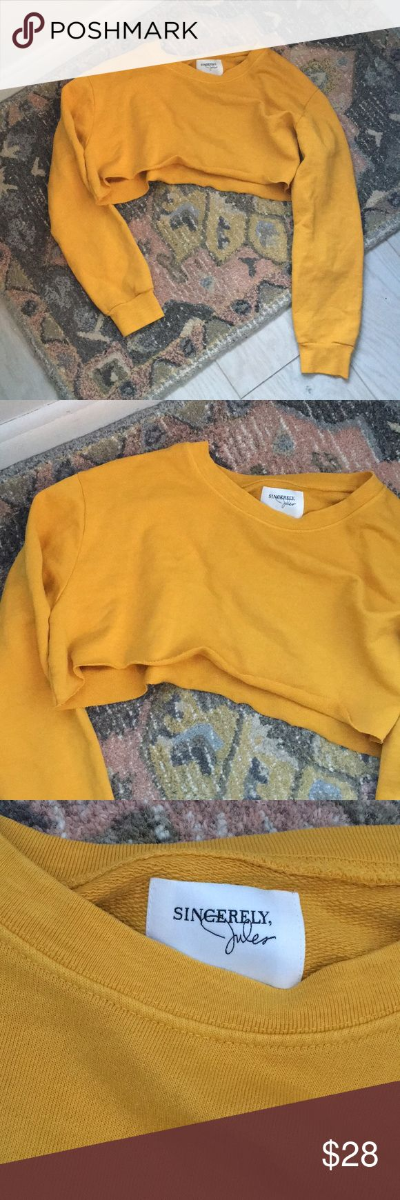 Sincerely Jules cropped mustard jumper Size Small. Barely worn Sincerely Jules Tops Crop Tops