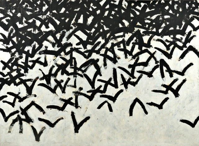 Leon Tarasewicz (Polish, b. 1957) Untitled [Clustered Birds]   Sale Number 2728B, Lot Number 642   Skinner Auctioneers