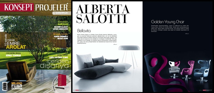 Konsept Projeler Magazine (Turkey), May 2012 - Bellavita sofa, Golden Young Chair. Golden Young Collection by  #Alberta #Pacific #Furniture