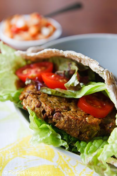 Curried Eggplant, Lentil and Quinoa Burgers with Onion-Pepper Relish. Okay...I make a lot of vegetarian-vegan-bean burgers. My favorite uses red lentils and blue cheese, but I digress. These are wonderful albeit a bit time intensive to make. Serve them in a pita roll or just alongside a salad.