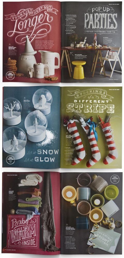 Type Dana Tanamachi ... i work at west elm ... wonderful to see people love the catalog design! (though I do digital!)