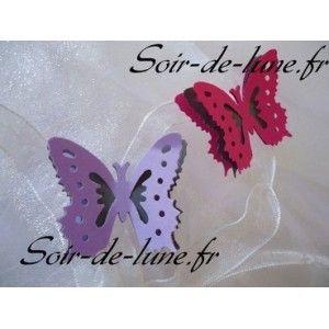 10 confettis punch  papillon 3D violet fushia aux coloris de votre choix mariage