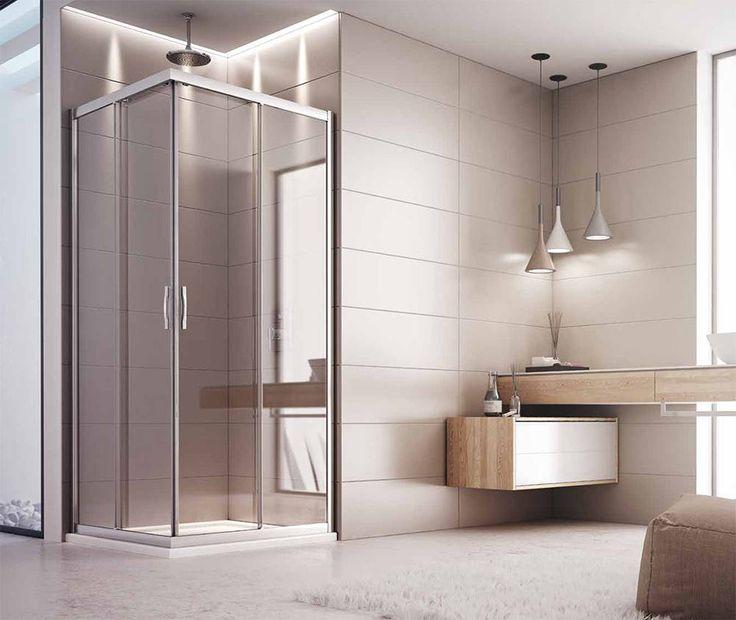 Box #doccia con 2 ante scorrevoli #angolari, struttura in alluminio anodizzato con cristalli in vetro #temperato.