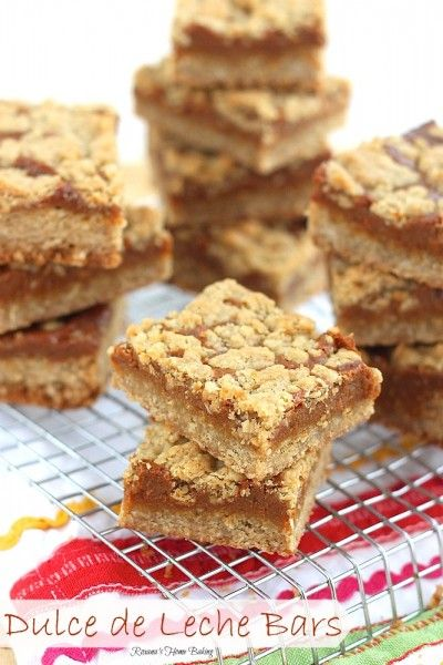 dulce de leche bars. The base is an oatmeal cookie dough made with all purpose flour, oats, butter and sugar. Spread most of it evenly on the bottom of a baking pan. Bake for a couple of minutes, take out, spread the dulce de leche over it and crumble the reserved dough and bake until golden brown.