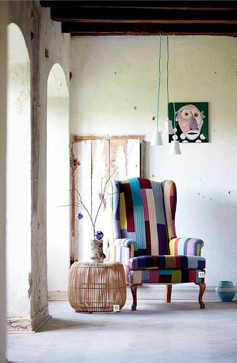 Colourful chair by The House Doctor, Denmark.  Via Busy Being Fabulous.