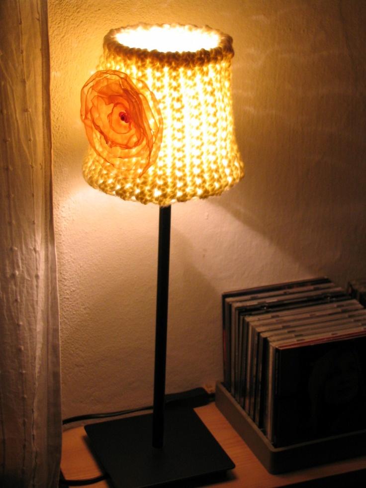 Handmade crochet lamp.