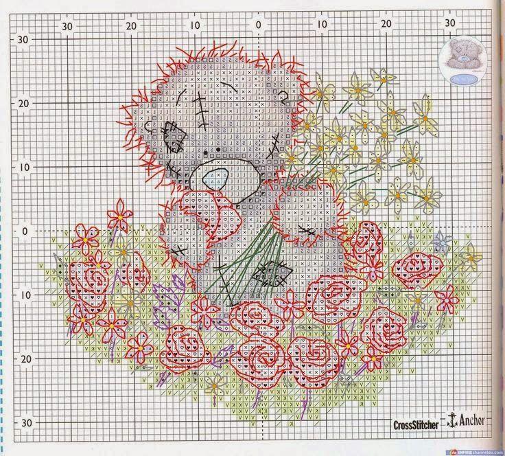 Hobby lavori femminili - ricamo - uncinetto - maglia: Schema Orsetto patchwork con fiori a punto croce