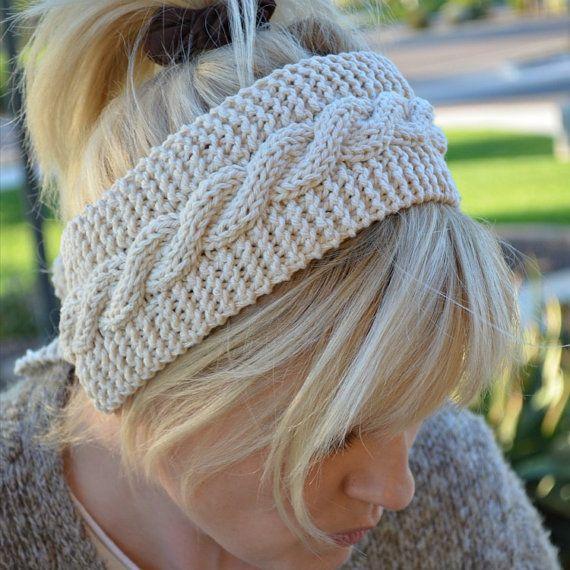 Cotton headband knit off white by socksandmittens on Etsy, $18.99
