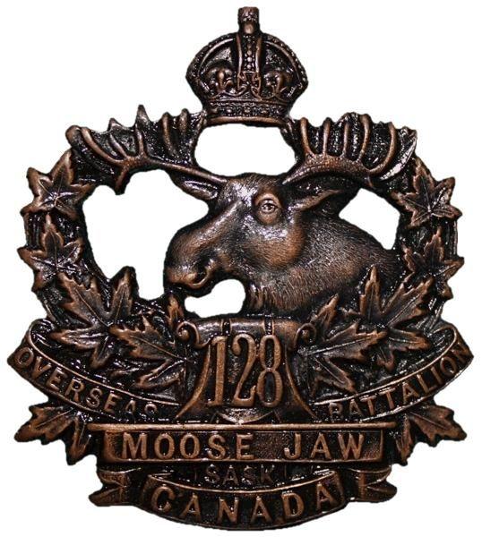 CEF - Cap Badge - 128th Canadian Infantry Battalion - Moose Jaw, Saskatchewan. WW1.