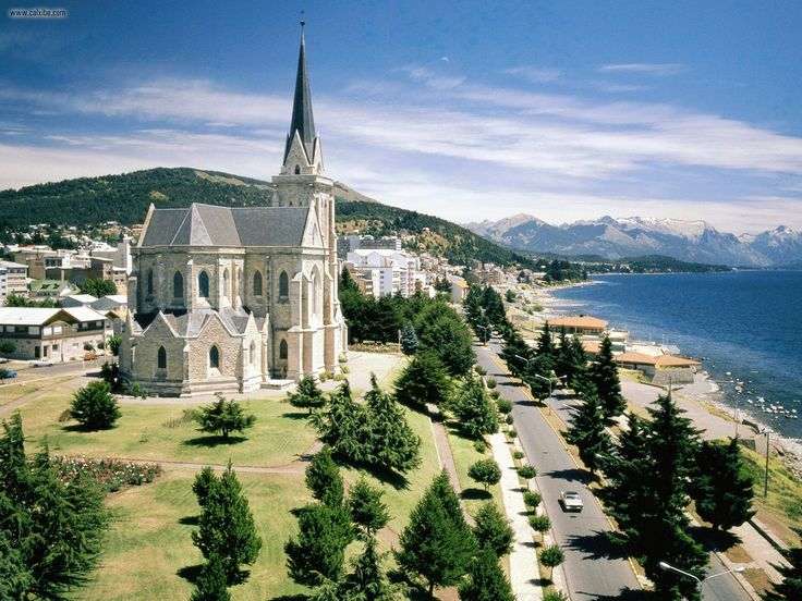 """Nahuel Huapi Lake And Cathedral Bariloche, Argentina. Matt and I stayed in a hostel called """"El Tato"""" in the woods outside this city."""
