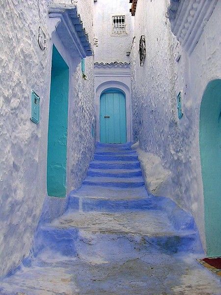 Morocco mooseychel  Morocco  MoroccoTurquoise Blue, Turquoise Door, Stairs, Blue Doors, Colors, Travel, Places, Aqua, Morocco