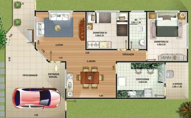 Casa p. Moderna 2 quartos