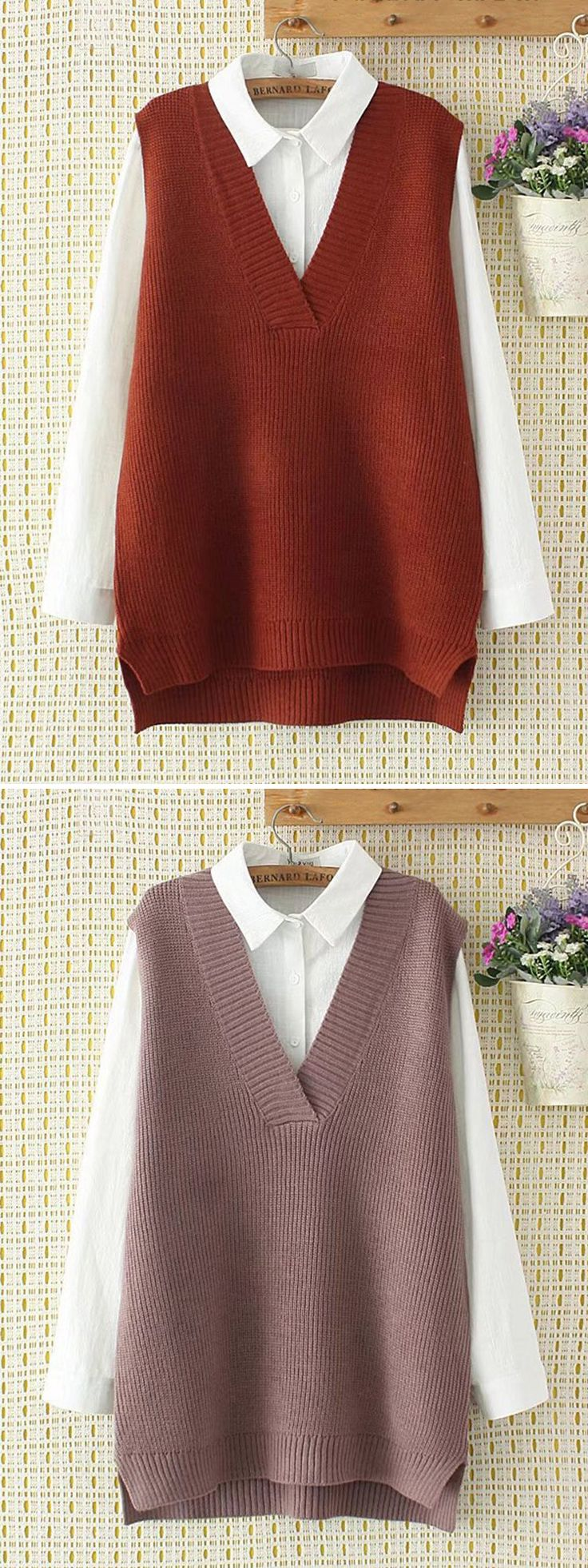 Casual V Neck Sleeveless Sweaters For Women