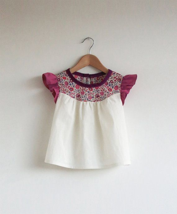 cotton blouse with Liberty print detail van swallowsreturn op Etsy