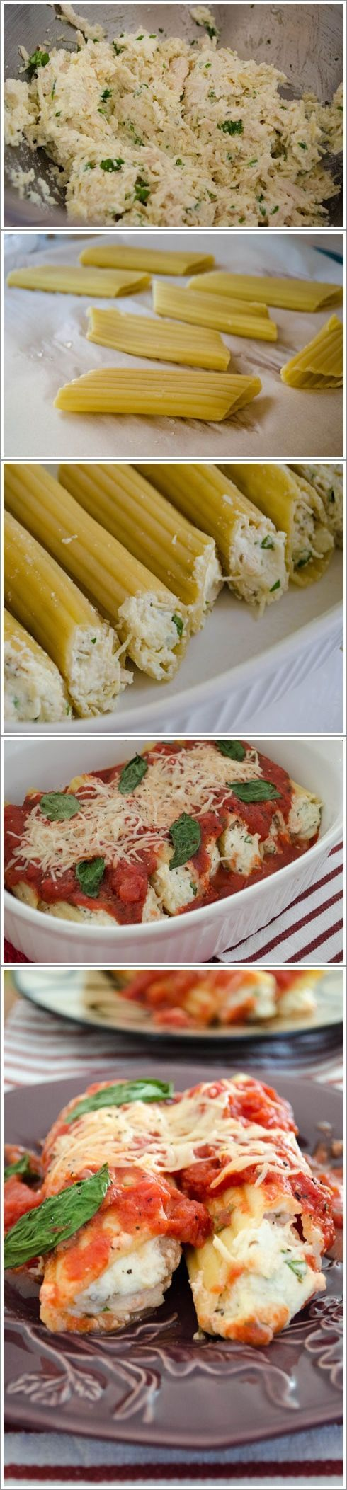 Parmesan Chicken Manicotti - love the chicken in the filling. add a clove of garlic to the filling and another to the sauce. also add 1/2 tsp red pepper flakes to the sauce.