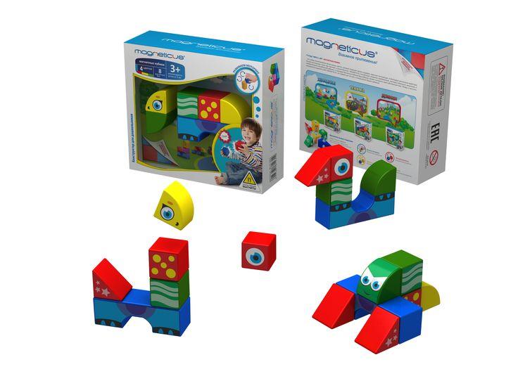 Магнитные кубики Животные (8 элементов) 3+