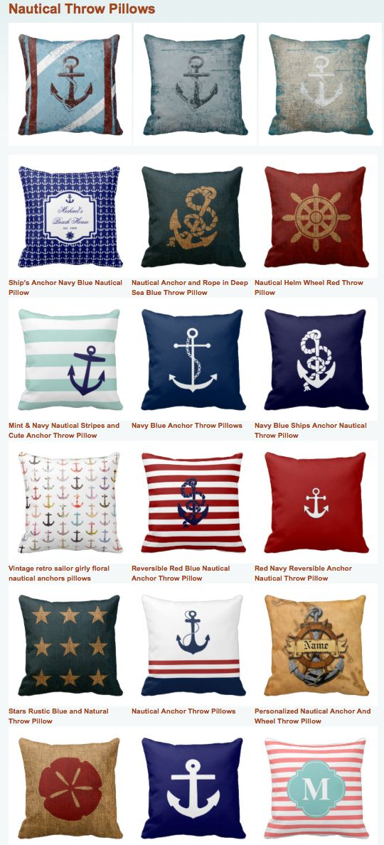 Nautical Throw Pillows | Beach House Throw Pillows | Anchor Throw Pillows by individual graphic designers for a one of a unique toss cushion throw pillow.  You can even add your own text, monogram, or family name to them for no additional cost.  http://buythrowpillowsonline.com/nautical-throw-pillows/