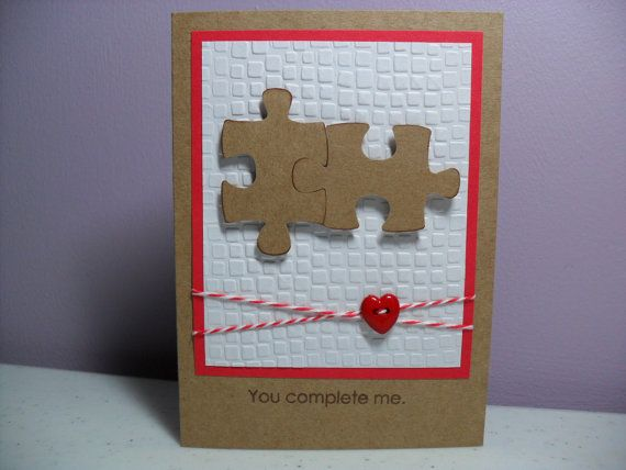 Handmade Anniversary Card - Puzzle Pieces - You Complete Me ... kraft, red, white ... embossing folder texture ... luv how the sentiment works with the image ...