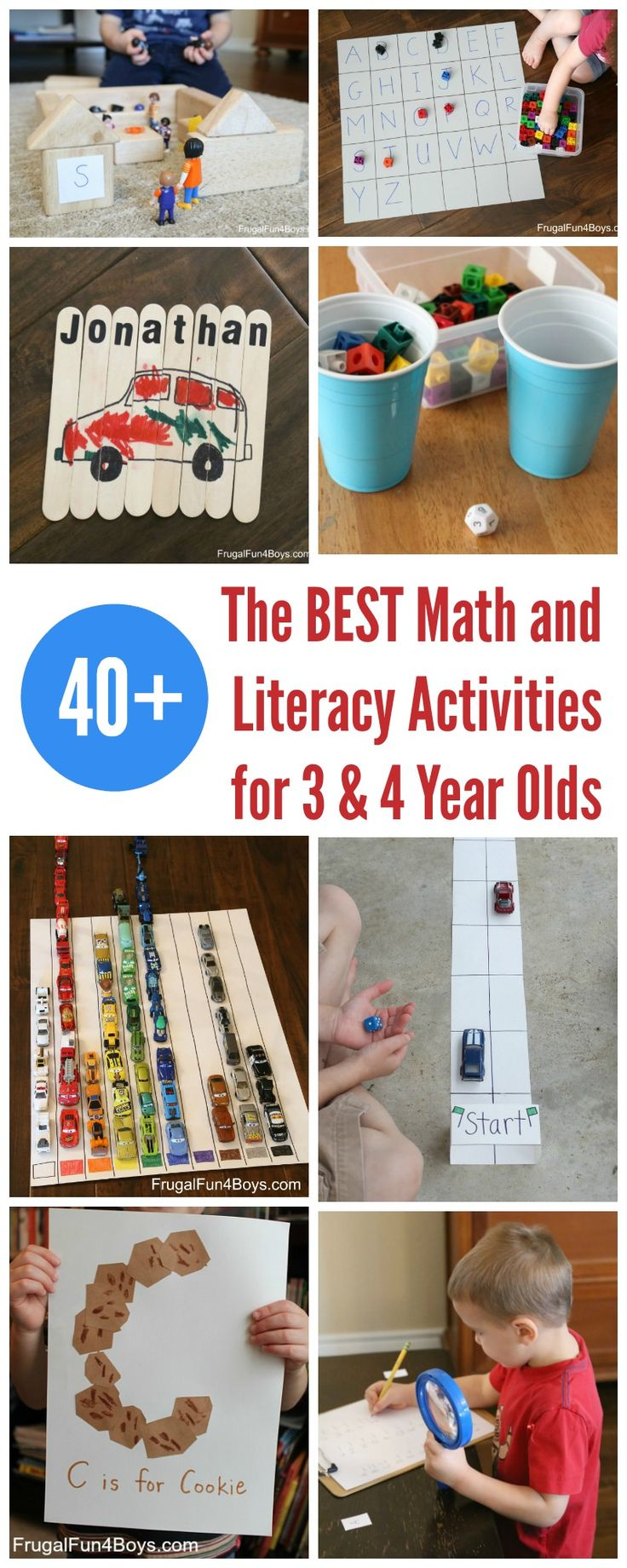 40+ of the BEST Math and Literacy Activities for Preschoolers 3 & 4 Year Olds - Frugal Fun For Boys and Girls