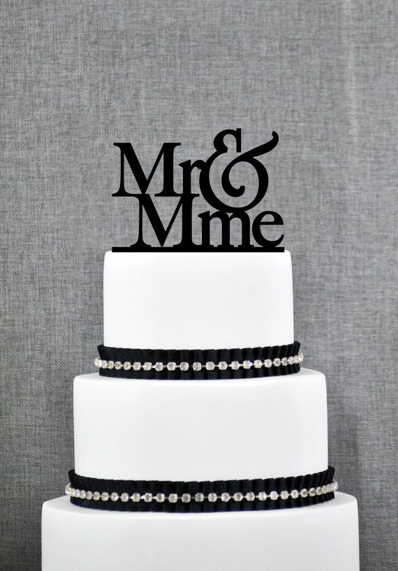 Mr and Mme French Wedding Cake Topper in your Choice of Colors, Elegant Wedding Cake Topper, Unique Wedding Cake Topper
