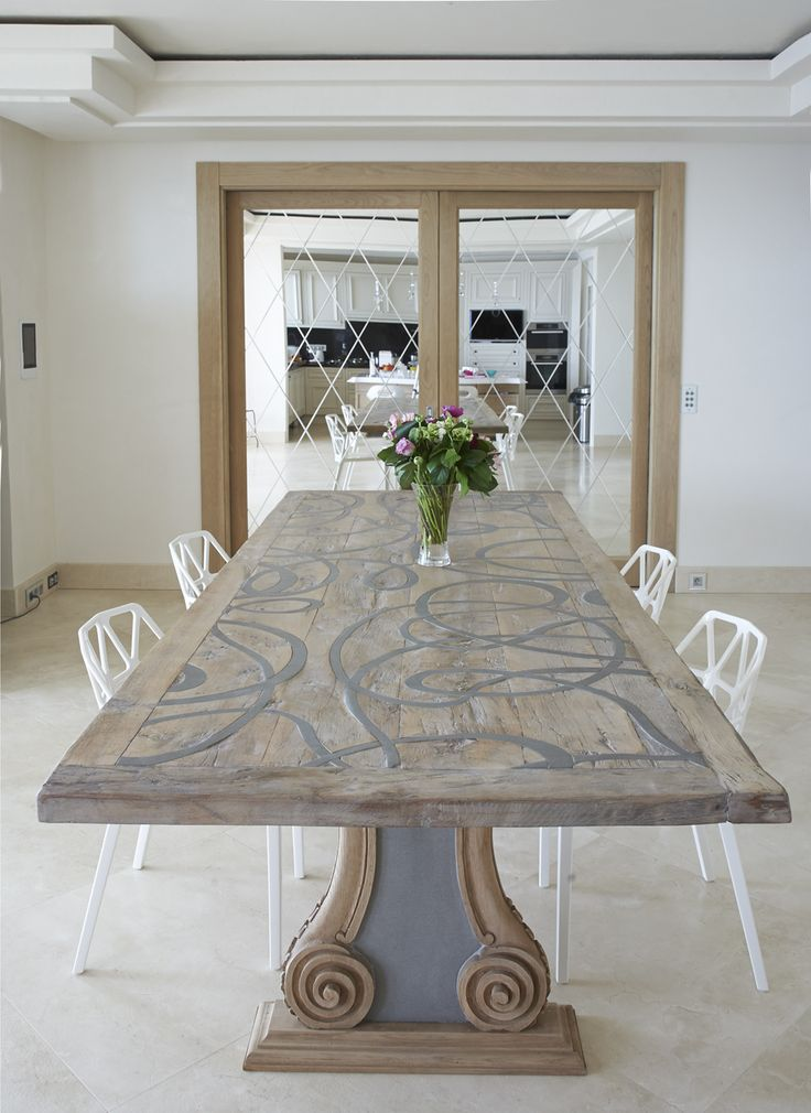love the dining table not loving these chairs that are paired with it but a nice upholstered parsons chair would look nice.@All About Interiors