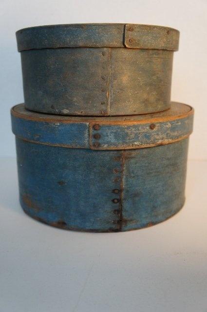 Pair of wonderful blue antique pantry boxes