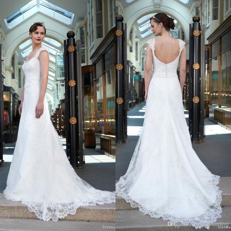 2014 Sheath Beach Wedding Dresses Cap Sleeveless Sweep Sheath Wedding Dresses | Buy Wholesale On Line Direct from China