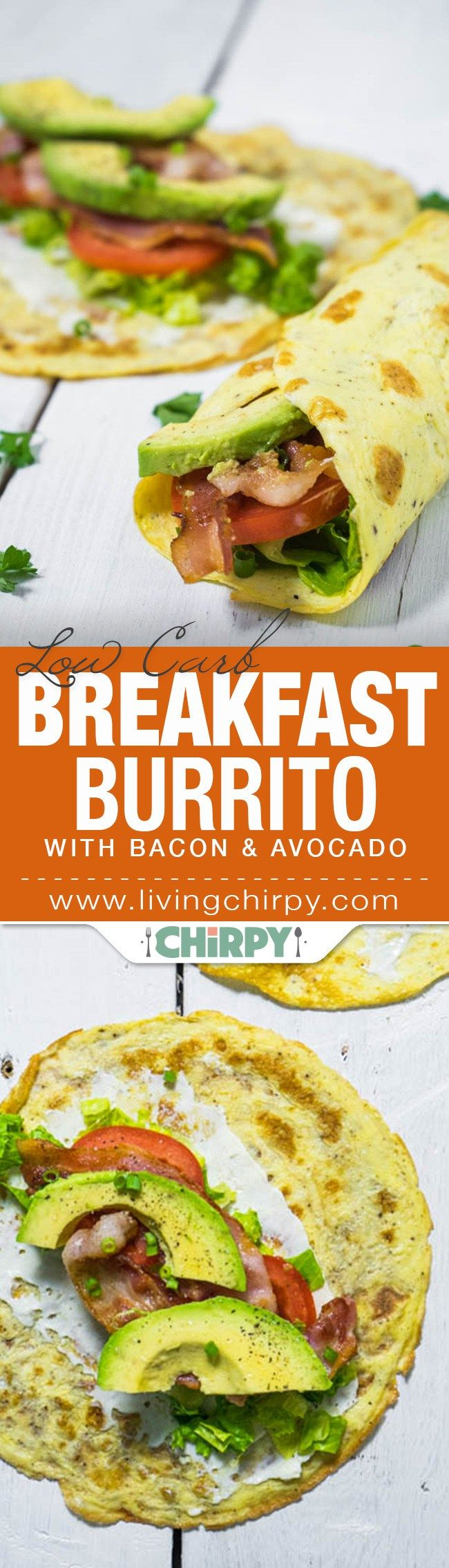 low carb breakfast burrito with bacon and avocado