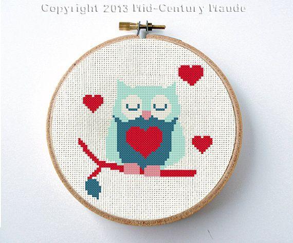 Owl Valentine Cross Stitch Pattern Instant by MidCenturyMaude, $5.00