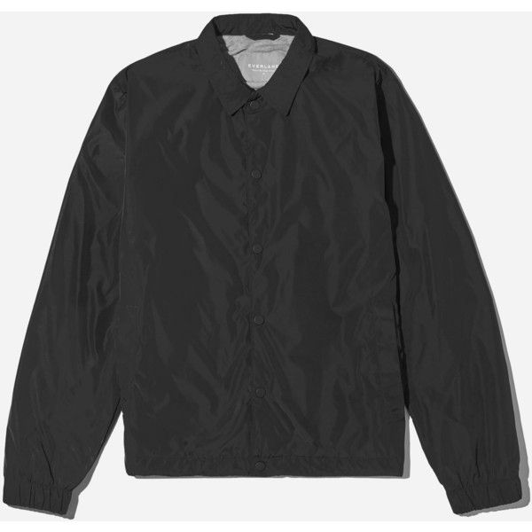 Everlane Men's Coach Jacket ($68) ❤ liked on Polyvore featuring men's fashion, men's clothing, men's outerwear, men's jackets, black, mens striped jacket, mens coach jacket, mens water resistant jacket and mens jackets