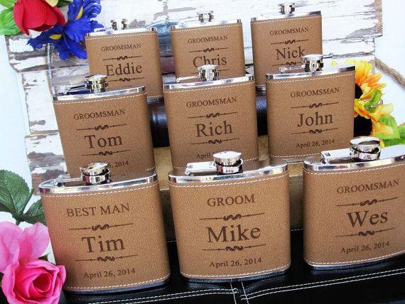 Personalized Groomsmen Gift, 1 Leather Engraved Flask, Groomsmen Flasks