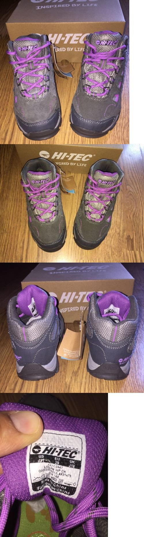 Kids 181394: Girls Youth Hi-Tec Logan Wp Mid Youth Hiking Boots Size 11 Gray Purple -> BUY IT NOW ONLY: $40 on eBay!