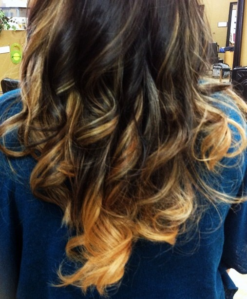 Ombre hair color technique with medium brown and blonde ...