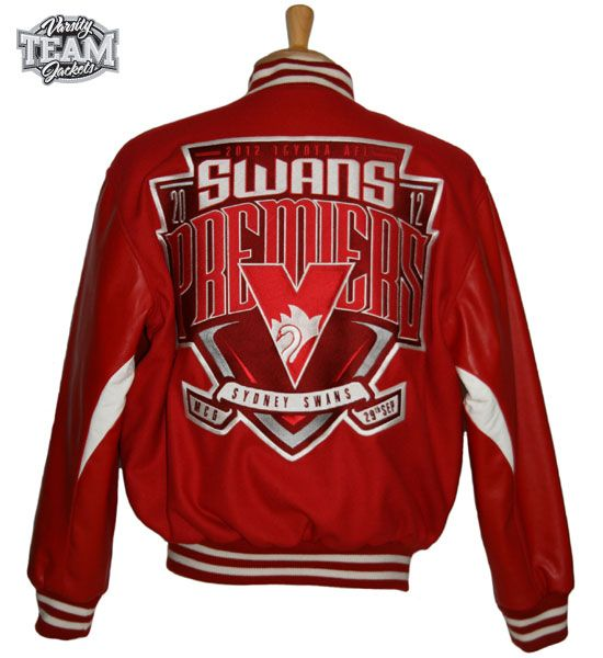 Sydney Swans AFL Premiership AFL wool body and leather sleeves embroidered varsity jacket back by Team Varsity Jackets. www.facebook.com/TeamVarsityJackets  www.teamvarsityjackets.com.au