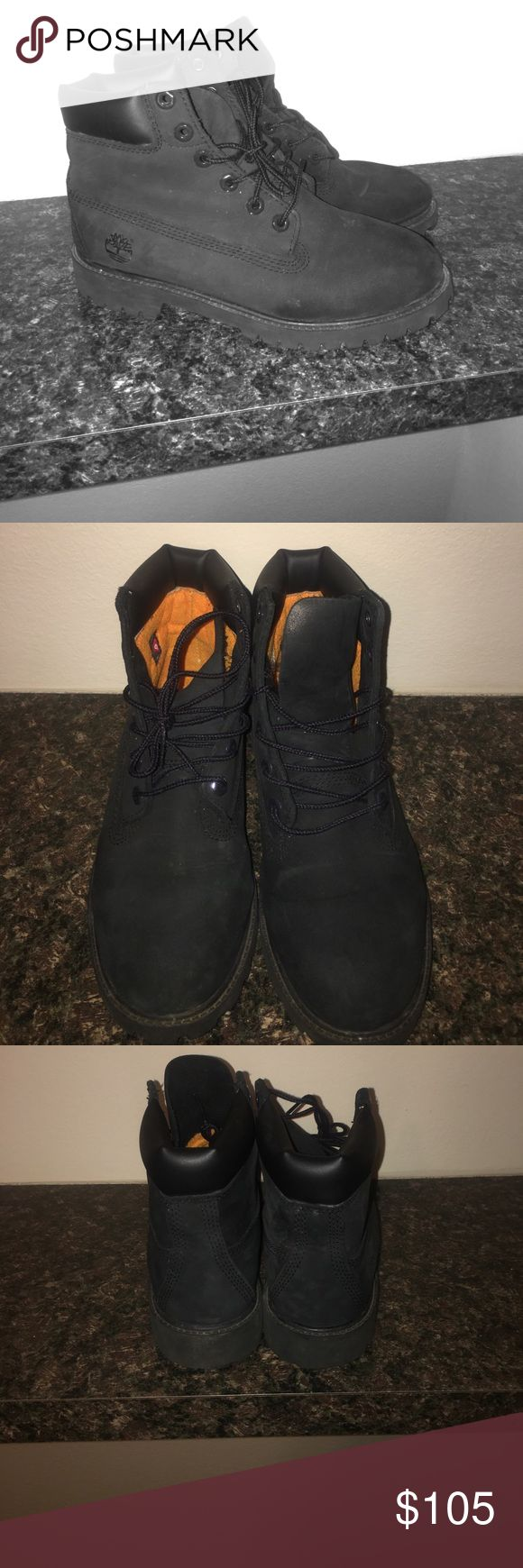 Black timberland boots These are black timberland boots. They are a US men's 6 (so a woman's size 7.5). They have only been worn a couple of times and are in great condition. Timberland Shoes Winter & Rain Boots