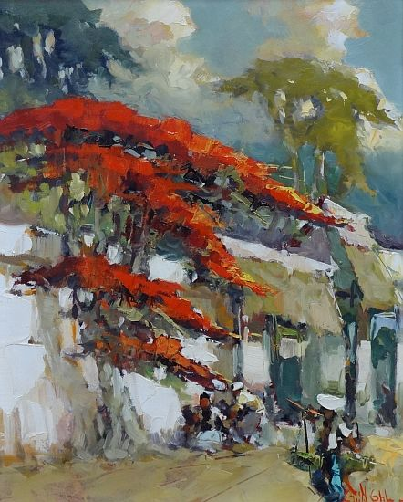 Luxien Frits Ohl (1904-1976) - Di bawah Flamboyant